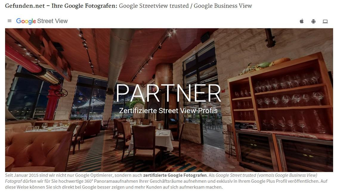 Google Fotografie: Google Street View Trusted 360 Grad Panorama Fotograf in Pruem