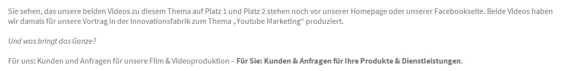 Videoproduktion, Video und Youtube Marketing für Grafschaft