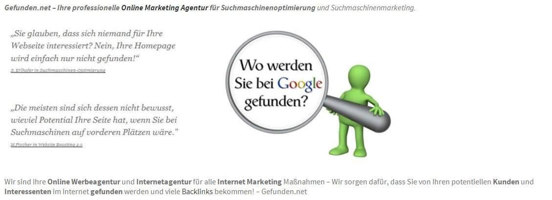 Gefunden.net Werbeagentur & Internetagentur: Backlinks aufbauen