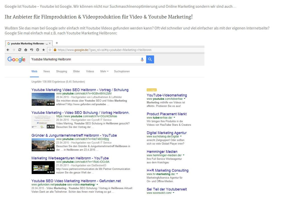 Filmproduktion, Video und Youtube Marketing für  Wiesenbach