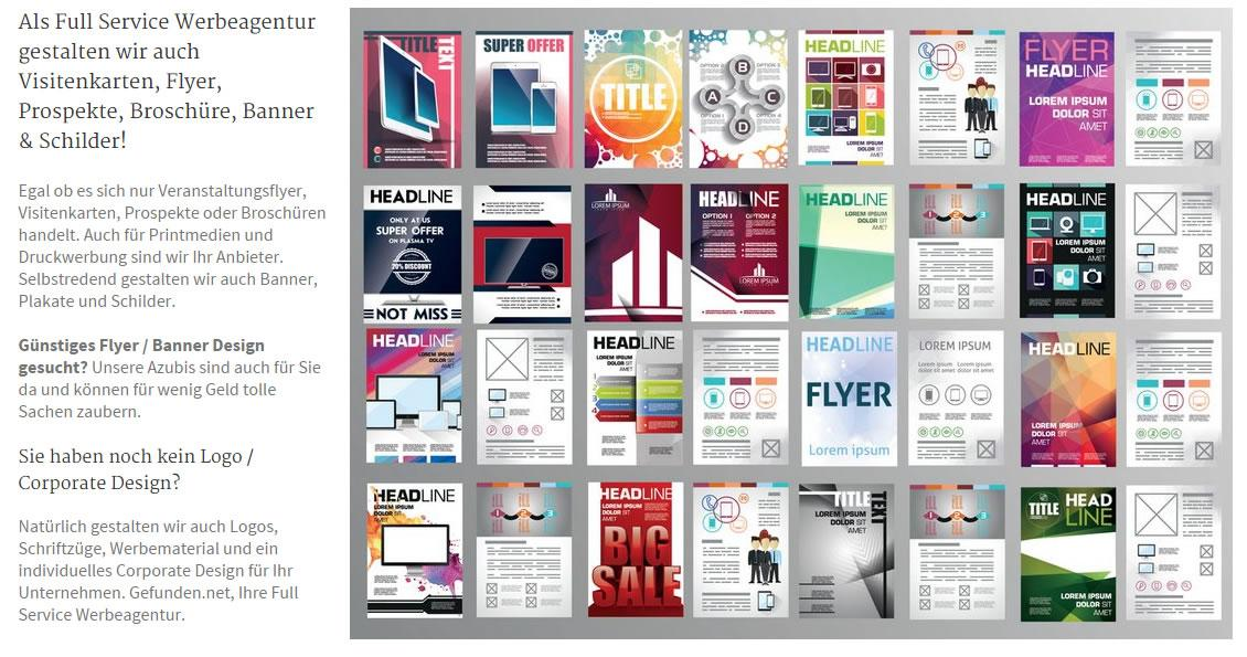 Vistenkarten, Druckwerbung, Printdesign, Printmedien: Werbe Banner mit Logo und Faltprospekte - Erstellung, Druck und Design