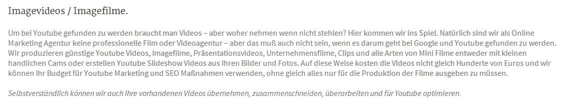Filmproduktion, Imagefilme, Videofilme, Youtube Marketing in Aresing als kompetente  Werbeagentur