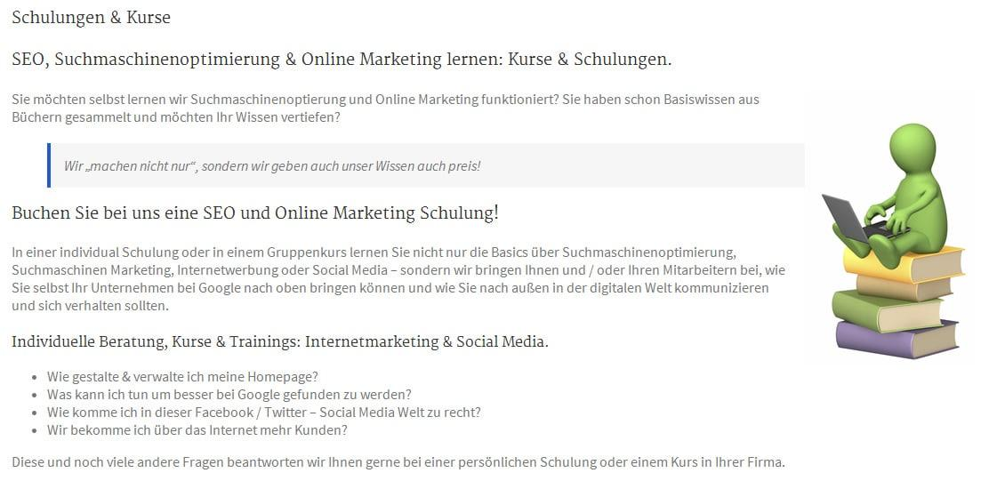 SEO und Google und Online Marketing Seminare, Schulungen und Kurse in Hornbach