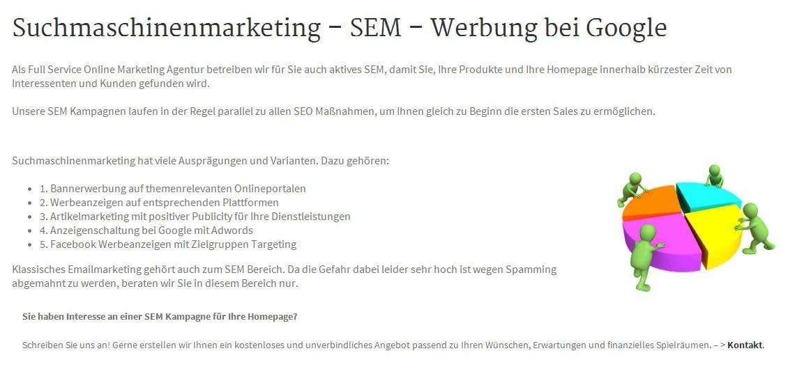 Suchmaschinen Werbung, SEM und Suchmaschinen Anzeigenwerbung